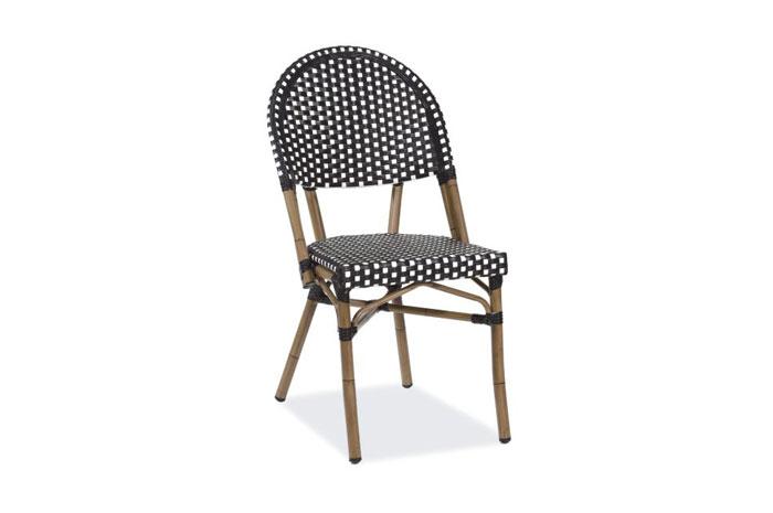 Silla H042. Silla con estructura de Aluminio & malla textilene acabado tubular bamboo.  Muebles para exteriores.