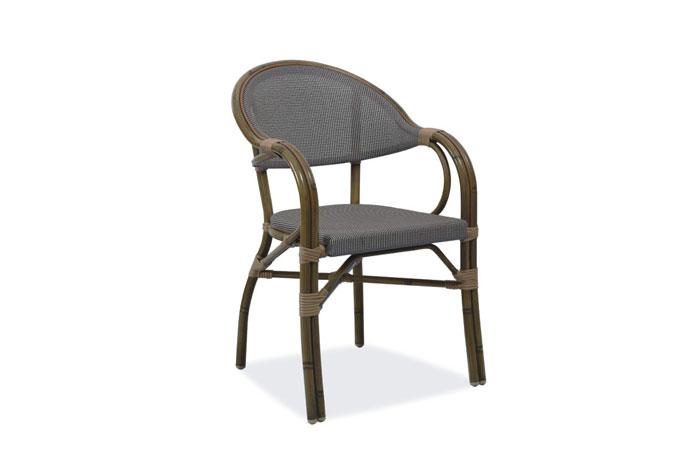 Silla H060 Gris. Silla moderna con estructura de aluminio & malla textilene acabado tubular bamboo. Muebles para exterior.