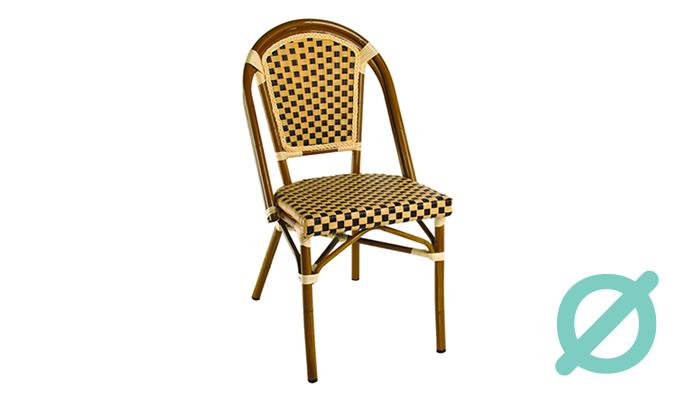 Silla H181-C. Silla de aluminio & malla textilene acabado tubular bamboo. Muebles para terrazas.