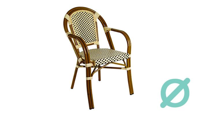 Silla H256-C. Silla con estructura de Aluminio & malla textilene acabado tubular bamboo.  Muebles para jardín.