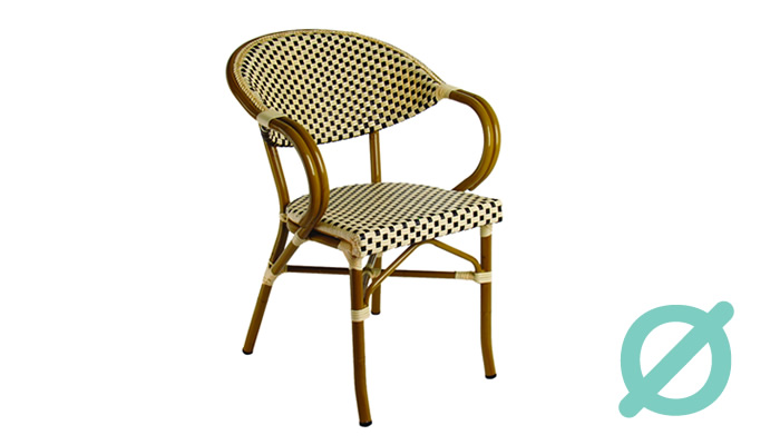 Silla H266-C. Silla con estructura de Aluminio & malla textilene acabado tubular bamboo.  Muebles para terrazas.