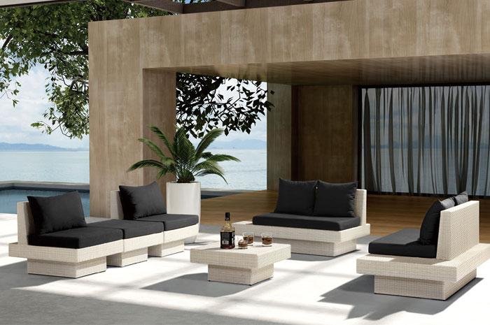 Sala Cora. Sala elegante, moderna y espaciosa, ideal para tus reuniones. Tiene estructura de Aluminio tejida en PE VIRO ratán.  Muebles para exterior.