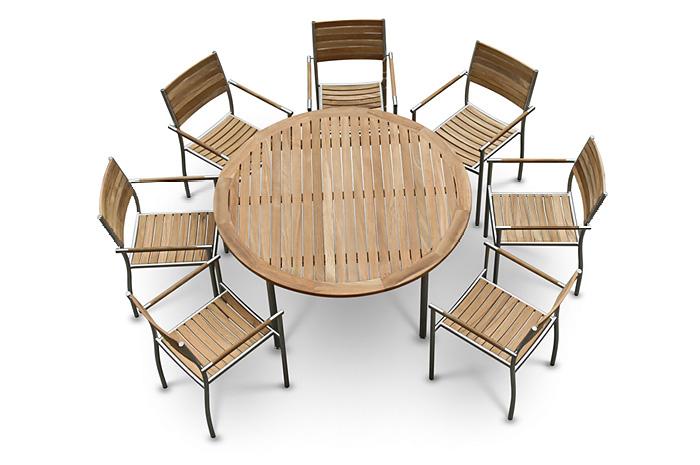 Comedor Sema. El comedor Serna tiene estructura de acero inoxidable &  teca.  Es ideal para esa reunión familiar en tu terraza.  Muebles para jardín.