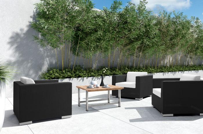 Sala Thomas. Con sus sillones individuales y mesa de centro, la sala Thomas llenará de elegancia tu terraza o jardín. Tiene una estructura de Aluminio & malla textilene.  Muebles para exteriores.