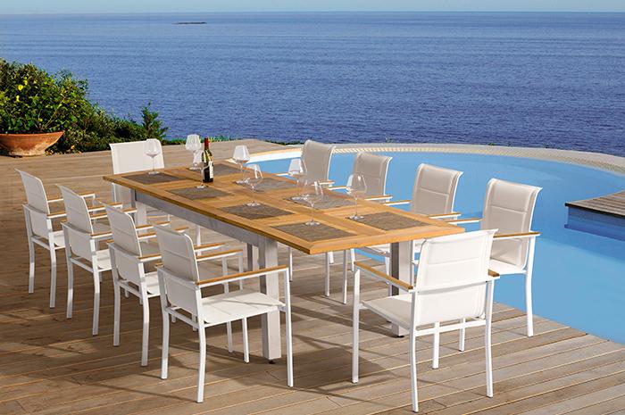 Comedor Zadina. El comedor Zadina es fresco y perfecto para tus reuniones en tu terraza y/o jardín para disfrutar, cocinar y comer en familia.